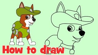 How to draw Tracker from PAW Patrol characters new pup step by step