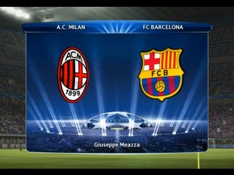 Uefa Champions League Pes 2013 Predicts Result A C Milan Vs Fc Barcelona Youtube