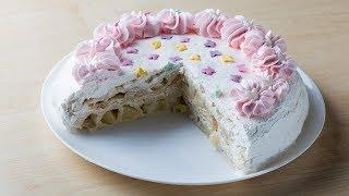 Легкий, слоеный торт с йогуртовым кремом. Очень простой рецепт