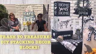 TRASH TO TREASURE-DIY STACKING FARMHOUSE DECOR BLOCKS!