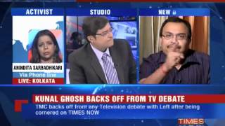 TMC MP Kunal Ghosh backs off from TV debate (The Full Debate)