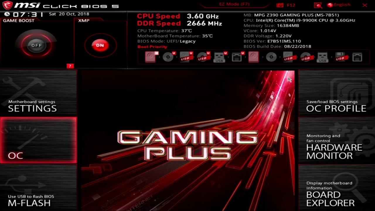 MSI MPG Z390 Gaming Plus UEFI