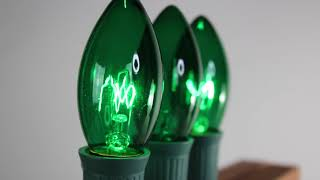 Green C9 Twinkle Bulbs   Incandescent