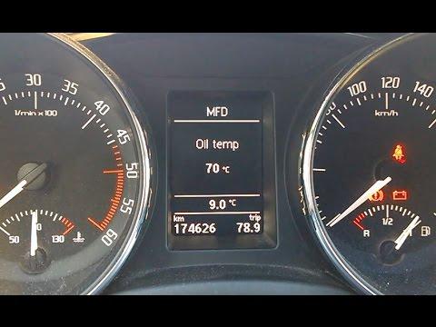 Skoda Superb 2 - oil temperature display on MFD activation - vključitev prikaza temperature olja ...