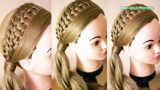 Коса Ободок  Причёска на каждый день  Плетение в школу Trenza Hair tutorial