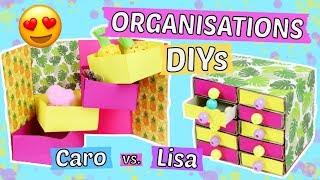 Easy ORGANISATIONS DIYS 😍BASTEL CHALLENGE: Caro vs. Lisa 😱Schulsachen selber machen & organisieren