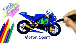 Motor Sport | Cara Menggambar Dan Mewarnai Gambar Sepeda Motor untuk Anak-anak