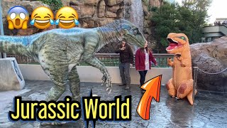 T Rex vs Blue Raptor Encounter Funny Moments! Jurassic World Universal Studios Hollywood