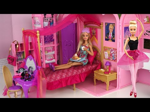 Barbie Pink Bedroom Bath Morning Routine - Princess Doll Dancing Ballerina Play Set