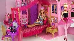 Barbie Pink Bedroom Bath Morning Routine - Princess Doll Dancing Ballerina Play Set