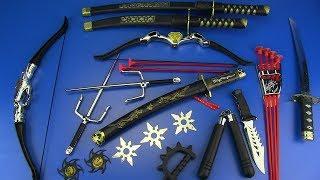 NINJA Weapons Toys for Kids !! Ninja weapons & equipment- Shuriken,Nunchucks,Swords..Box of Toys