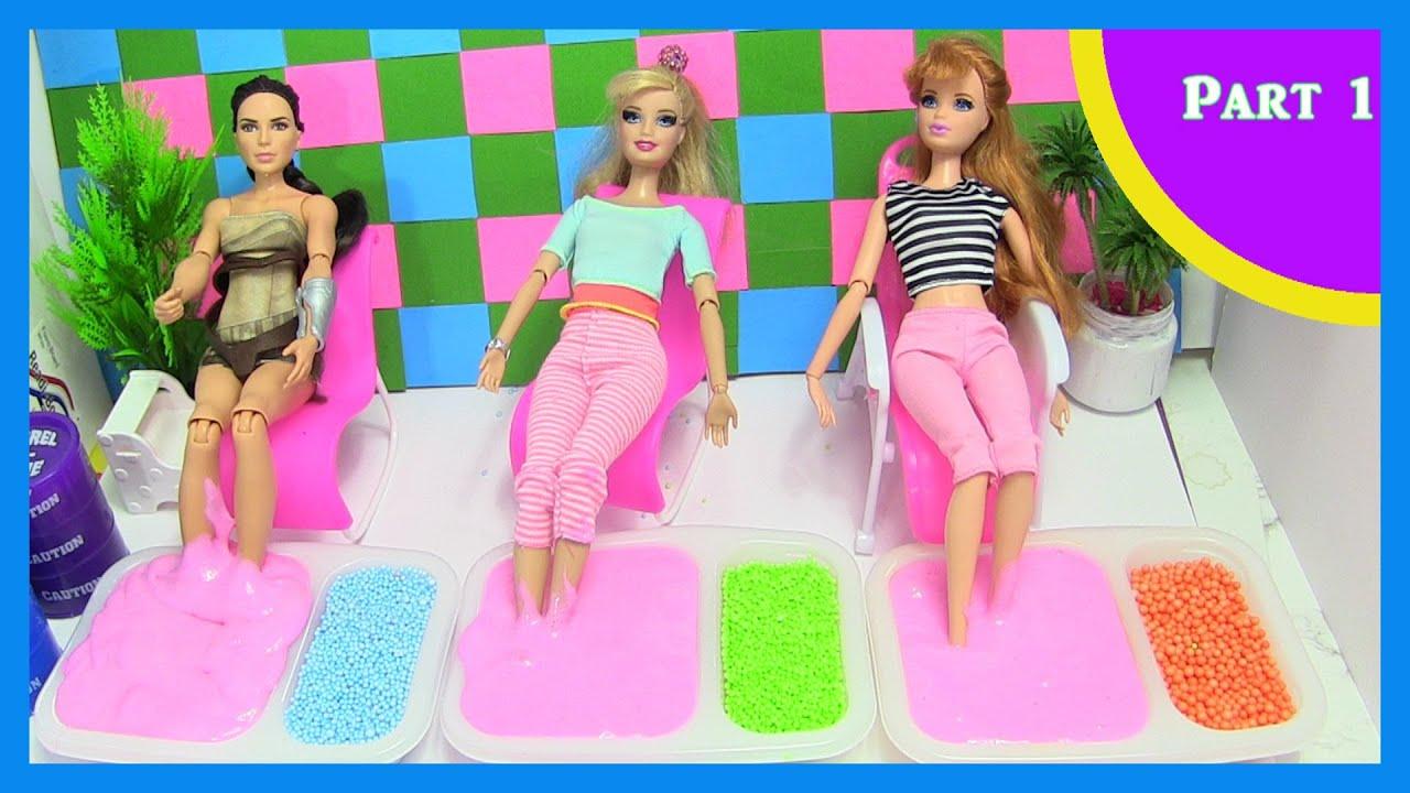 Princess Rapunzel As Yoga Teacher Barbie Gets A Slime Foot Massage Boneka Hello Kitty Wedding14ampquotn Dolls Rainbow Collector