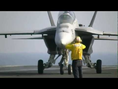 Naval Airshow Onboard Aircraft Carrier (F-18 Landing)