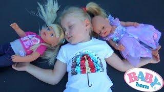 До БЕБІ БОН приїхала СТАРША СЕСТРА розпакування нової ЛЯЛЬКИ Sister Baby Born Дівчатка поснули на БАТУТІ