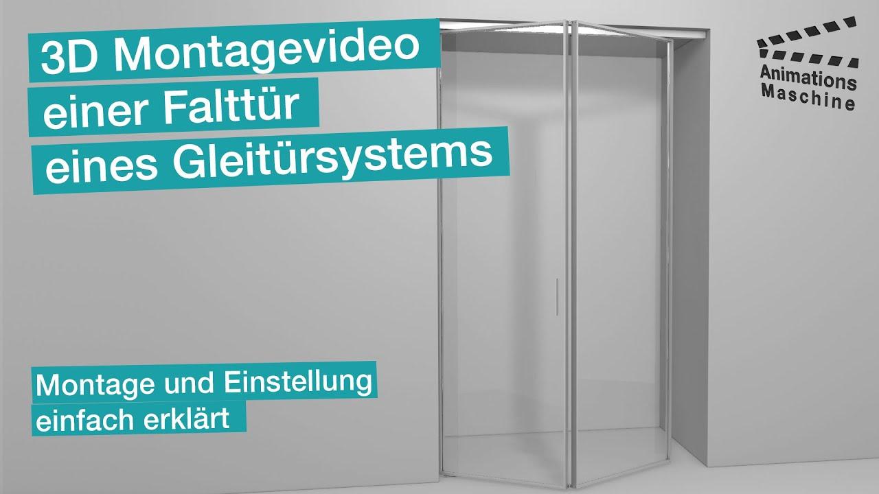 3D Montagevideo einer Falttür eines Gleitürsystems - YouTube