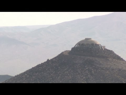 Spaceship house on a volcano