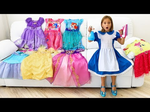Sofia gathers the scattered of Princess Dresses and Toys