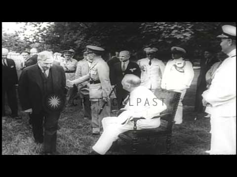 US President Franklin Roosevelt greets King George II of Greece as he arrives at ...HD Stock Footage