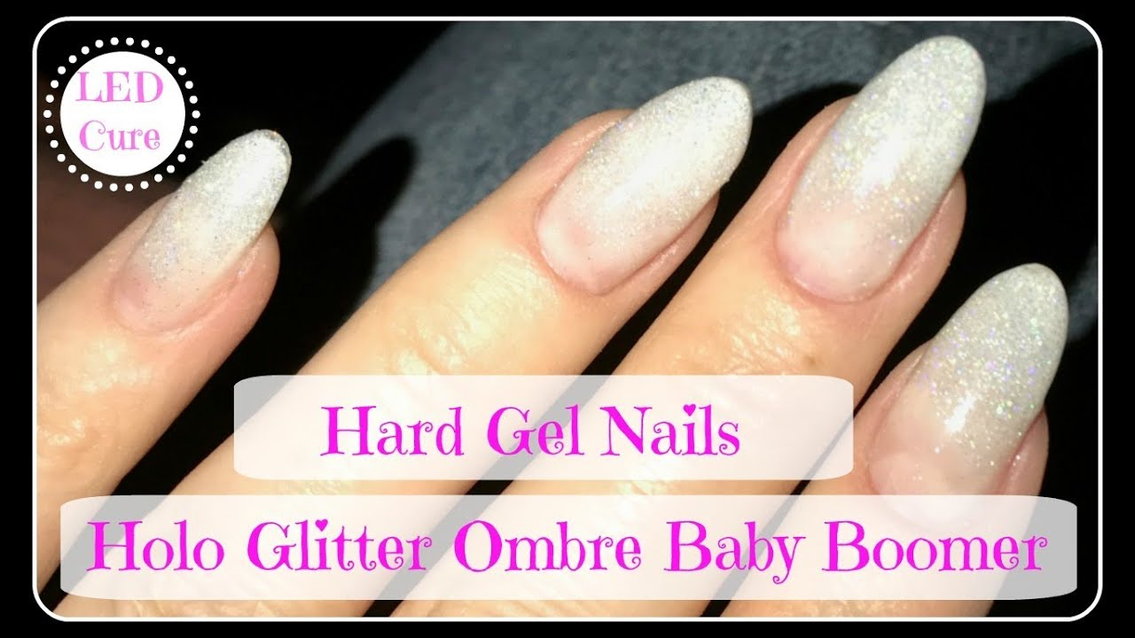 Hard Gel Nails With Tips Tutorial Ombre Baby Boomer Fail Saved By Holo Glitter
