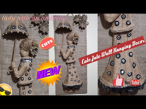DIY Jute craft ideas| JUTE WALL HANGING DÉCOR| Lady with an Umbrella