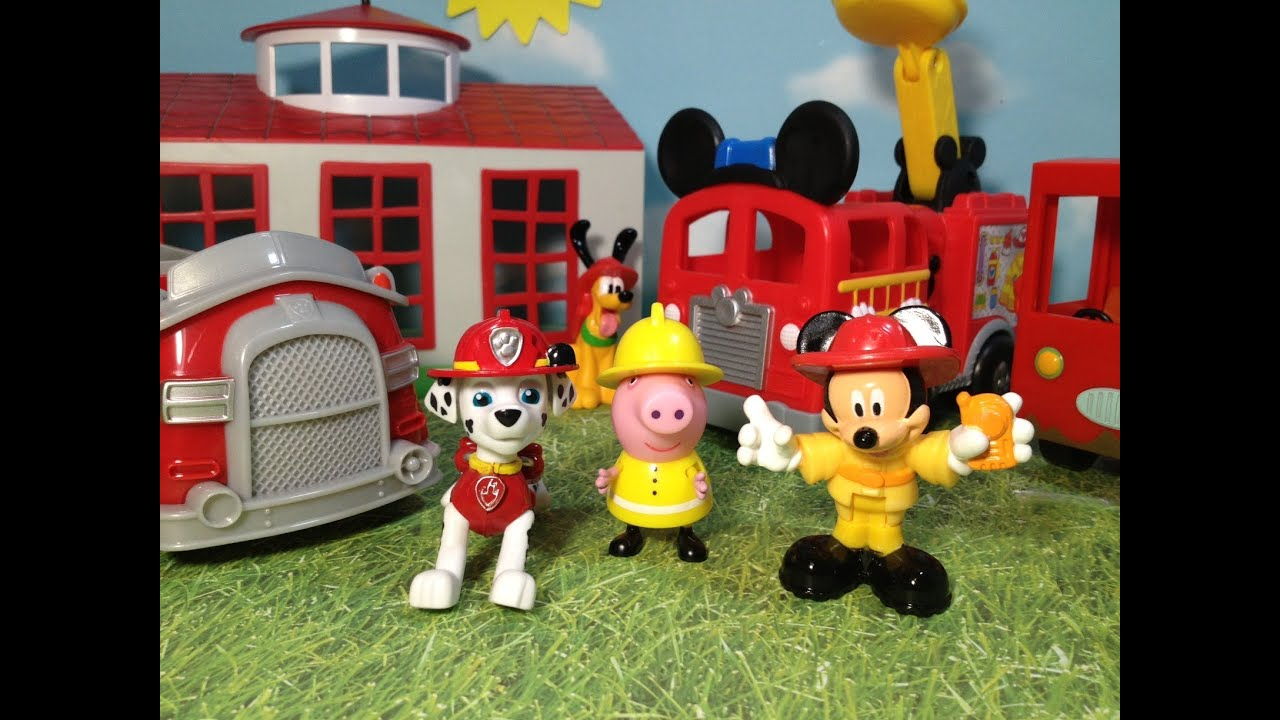 Toys toy boxes and fire trucks on pinterest - Paw Patrol Mickey Mouse Clubhouse And Funny Pig Comparison Of Fire Truck Toys Video Youtube