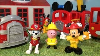 Paw Patrol, Mickey Mouse Clubhouse, and Peppa Pig Comparison of Fire Truck Toys Video
