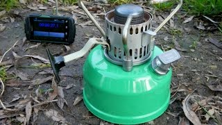 Russian camp gasoline stove Шмель - Boil test