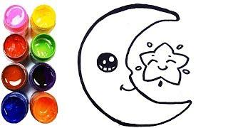moon easy draw drawing coloring drawings step glitter drawn crescent cartoon paintingvalley nishiohmiya golf