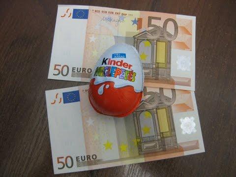 Киндер сюрприз видео обзор шоколадного яйца с деньгами 100 евро