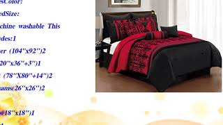 10 Piece King Baccina Black and Red Comforter Set
