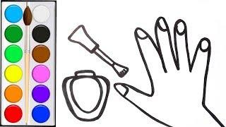 Как нарисовать РУКУ / мультик раскраска РУКА И НОГТИ для детей / Раскраски малышам