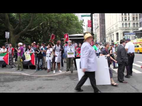 """Protesters confront """"NY Stands With Israel"""" attendees, including Rep. Eliot Engel"""