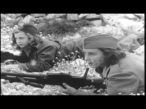 Yugoslav women partisans march in Yugoslavia during World War II