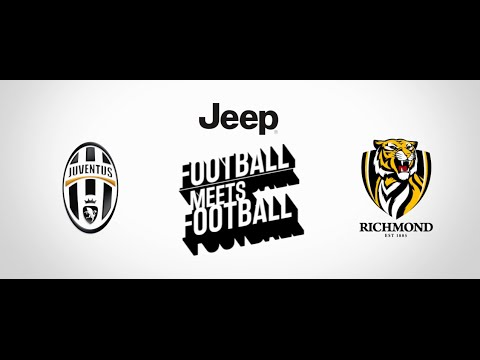 """Flashback: Paulo Dybala, Hernanes and Jay the Zebra meet Richmond (AFL)'s Trent Cotchin, Ivan Maric and """"Stripes"""" Dyer at Punt Road Oval during Juve's 2016 tour stop in Melbourne"""
