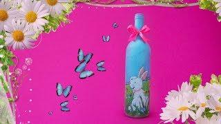 Пасхальный кролик.  Декор бутылок.