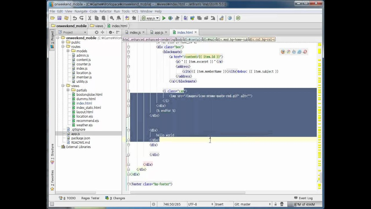 useful editing features in webstorm