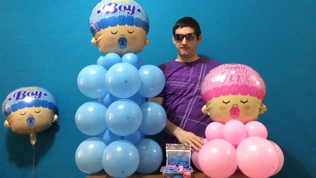 Baby Shower Balloon Decor (Dollar Store!) - YouTube