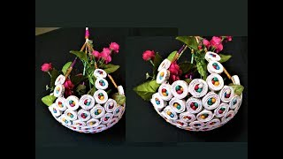 Newspaper - Hanging Flower Basket / DIY Newspaper Crafts / Best out of Waste