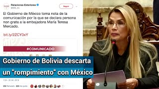 Presidenta interina de Bolivia expulsa a embajadora de México