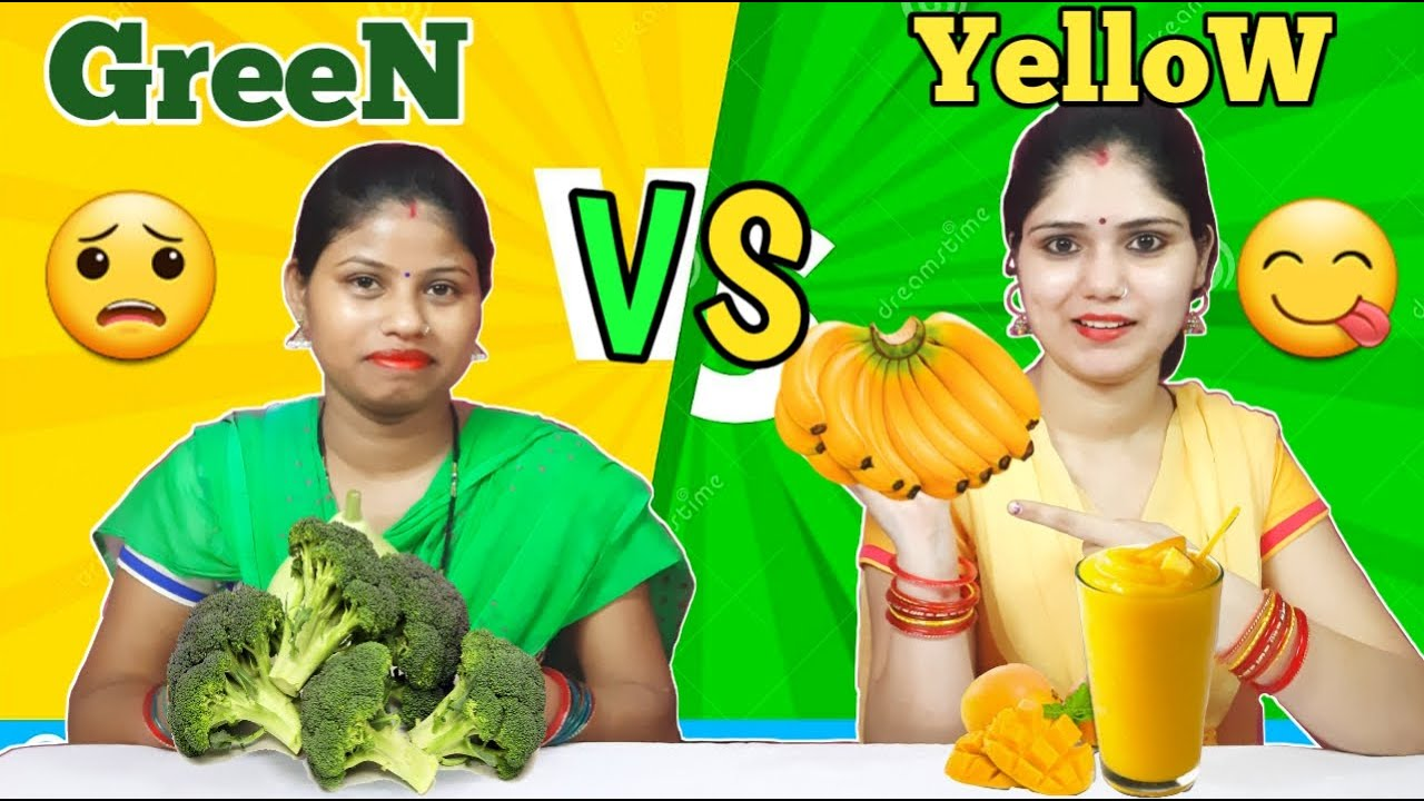 Green FOOD VS Yellow FOOD CHALLENGE | FUNNY FOOD CHALLENGE