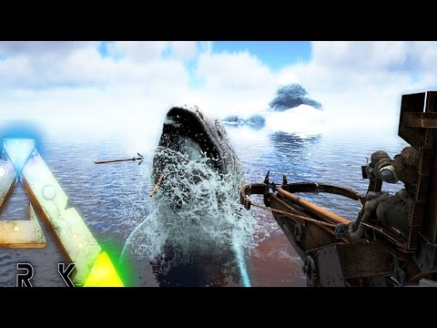ARK Survival Evolved - ALPHA LEEDSICHTHYS ATTACKS SHIP, BALLISTA SPEARS GREAT ALBINO ( Gameplay )