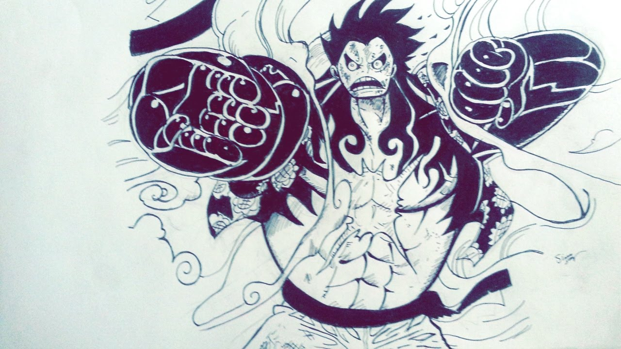 Drawing Monkey D Luffy Gear 4th Speed Draw One Piece Youtube