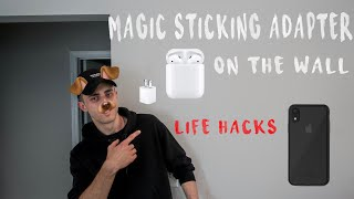 How An Apple Charging Cube Sticks To Wall (Works great for life hacks)