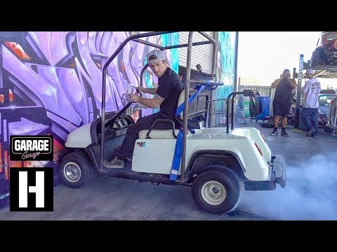 First Burnouts in the Sketch-tastic Snowmobile-Powered Golf Cart