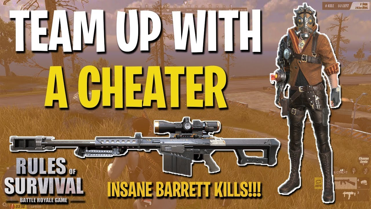 FUNNY TEAM UP WITH A CHEATER + INSANE BARRETT KILLS! - Rules of Survival PC (Tagalog)