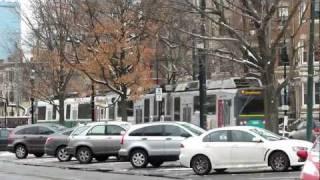 Boston Light Rail (tram) in the Snow and at Heath Street