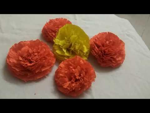 DIY marigold flowers | artificial marigold flowers using crepe paper | crepe paper craft