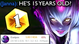 How this 15 year old got CHALLENGER with a 65% WIN RATE with EVELYNN (He's also the RANK 1 EVELYNN