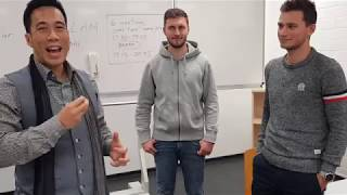 Ryan Hayashi Demonstrates Fun Psychology Trick #2 (Invisible Coins) at the University of Mannheim
