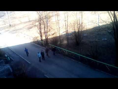 Матвей и его друзья бегут по дороге город Кушва Кузьмина 9 2018 год весна